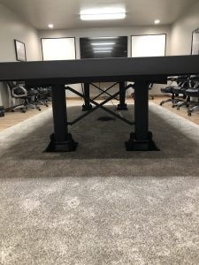 Custom Table Made Using Landing Gear from a Semi